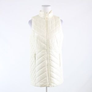Talbots ivory quilted turtle neck full zip vest PM
